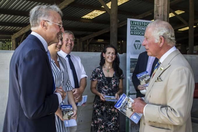HRH The Prince of Wales meets staff from the University of Exeter and The Prince's Countryside Fund. L-R, Professor Michael Winter, Ellie Burnage, Bob Mosley, Dr Caroline Nye, HRH The Prince of Wales. Photo Credit: Charles Sainsbury-Plaice